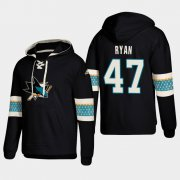 Wholesale Cheap San Jose Sharks #47 Joakim Ryan Black adidas Lace-Up Pullover Hoodie