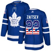 Wholesale Cheap Adidas Maple Leafs #22 Nikita Zaitsev Blue Home Authentic USA Flag Stitched NHL Jersey