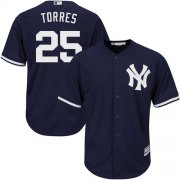 Wholesale Cheap Yankees #25 Gleyber Torres Navy Blue New Cool Base Stitched MLB Jersey