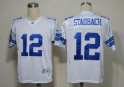 Wholesale Cheap Cowboys #12 Roger Staubach White Legend Throwback Stitched NFL Jersey
