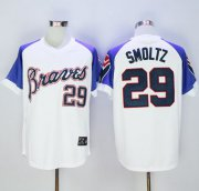 Wholesale Cheap Mitchell And Ness 1973 Braves #29 John Smoltz White Throwback Stitched MLB Jersey