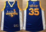 Wholesale Cheap Men's Golden State Warriors #35 Kevin Durant Royal Blue 2017 The Finals Championship Stitched NBA adidas Swingman Jersey
