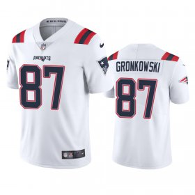 Wholesale Cheap New England Patriots #87 Rob Gronkowski Men\'s Nike White 2020 Vapor Limited Jersey