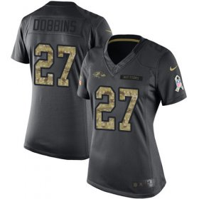 Wholesale Cheap Nike Ravens #27 J.K. Dobbins Black Women\'s Stitched NFL Limited 2016 Salute to Service Jersey