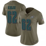 Wholesale Cheap Nike Eagles #62 Jason Kelce Olive Women's Stitched NFL Limited 2017 Salute to Service Jersey