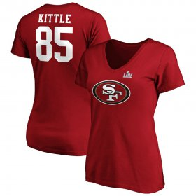 Wholesale Cheap Women\'s San Francisco 49ers #85 George Kittle NFL Scarlet Super Bowl LIV Bound Plus Size Halfback Player Name & Number V-Neck T-Shirt