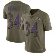 Wholesale Cheap Nike Ravens #34 Anthony Averett Olive Men's Stitched NFL Limited 2017 Salute To Service Jersey