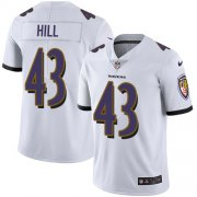 Wholesale Cheap Nike Ravens #43 Justice Hill White Youth Stitched NFL Vapor Untouchable Limited Jersey