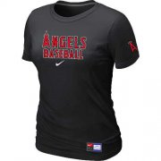 Wholesale Cheap Women's Los Angeles Angels Nike Short Sleeve Practice MLB T-Shirt Black