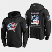 Wholesale Cheap Blue Jackets #50 Eric Robinson NHL Banner Wave Usa Flag Black Hoodie