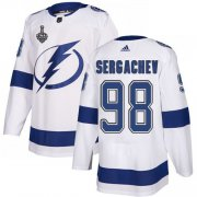 Wholesale Cheap Adidas Lightning #98 Mikhail Sergachev White Road Authentic Youth 2020 Stanley Cup Final Stitched NHL Jersey