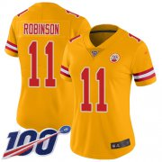 Wholesale Cheap Nike Chiefs #11 Demarcus Robinson Gold Women's Stitched NFL Limited Inverted Legend 100th Season Jersey