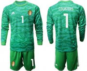 Wholesale Cheap Belgium #1 Courtois Green Long Sleeves Goalkeeper Soccer Country Jersey