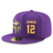 Wholesale Cheap Minnesota Vikings #12 Charles Johnson Snapback Cap NFL Player Purple with Gold Number Stitched Hat
