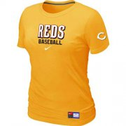 Wholesale Cheap Women's Cincinnati Reds Nike Short Sleeve Practice MLB T-Shirt Yellow