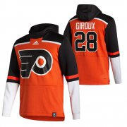 Wholesale Cheap Philadelphia Flyers #28 Claude Giroux Adidas Reverse Retro Pullover Hoodie Orange