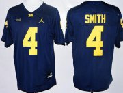 Wholesale Cheap Men's Michigan Wolverines #4 De'Veon Smith Navy Blue Stitched NCAA Brand Jordan College Football Jersey