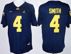 Wholesale Cheap Men\'s Michigan Wolverines #4 De\'Veon Smith Navy Blue Stitched NCAA Brand Jordan College Football Jersey