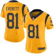 Wholesale Cheap Nike Rams #81 Gerald Everett Gold Women's Stitched NFL Limited Rush Jersey