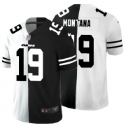 Cheap Kansas City Chiefs #19 Joe Montana Men's Black V White Peace Split Nike Vapor Untouchable Limited NFL Jersey