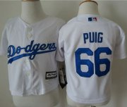 Wholesale Cheap Toddler Dodgers #66 Yasiel Puig White Cool Base Stitched MLB Jersey
