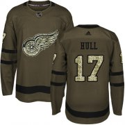 Wholesale Cheap Adidas Red Wings #17 Brett Hull Green Salute to Service Stitched NHL Jersey