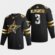 Cheap Dallas Stars #3 John Klingberg Men's Adidas Black Golden Edition Limited Stitched NHL Jersey