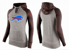 Wholesale Cheap Women\'s Nike Buffalo Bills Performance Hoodie Grey & Brown