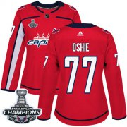Wholesale Cheap Adidas Capitals #77 T.J Oshie Red Home Authentic Stanley Cup Final Champions Women's Stitched NHL Jersey