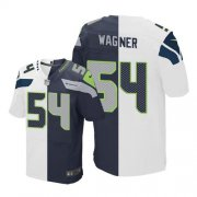 Wholesale Cheap Nike Seahawks #54 Bobby Wagner White/Steel Blue Men's Stitched NFL Elite Split Jersey