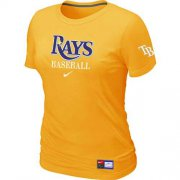 Wholesale Cheap Women's Tampa Bay Rays Nike Short Sleeve Practice MLB T-Shirt Yellow