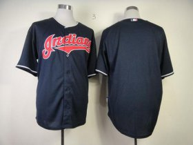 Wholesale Indians Blank Navy Blue Cool Base Stitched Baseball Jersey