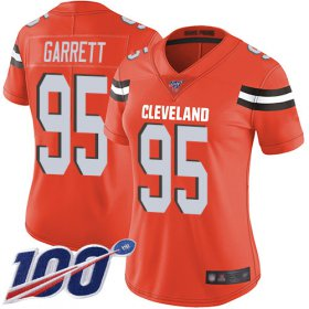 Wholesale Cheap Nike Browns #95 Myles Garrett Orange Alternate Women\'s Stitched NFL 100th Season Vapor Limited Jersey