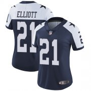 Wholesale Cheap Nike Cowboys #21 Ezekiel Elliott Navy Blue Thanksgiving Women's Stitched NFL Vapor Untouchable Limited Throwback Jersey