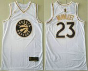 Wholesale Cheap Men's Toronto Raptors #23 Fred VanVleet White Golden Nike Swingman Stitched NBA Jersey