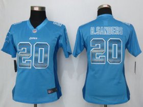 Wholesale Cheap Nike Lions #20 Barry Sanders Light Blue Team Color Women\'s Stitched NFL Elite Strobe Jersey