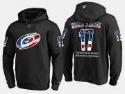 Wholesale Cheap Hurricanes #17 Rod Brind'Amour NHL Banner Wave Usa Flag Black Hoodie