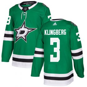 Wholesale Cheap Adidas Stars #3 John Klingberg Green Home Authentic Stitched NHL Jersey