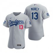 Wholesale Cheap Los Angeles Dodgers #13 Max Muncy Gray 2020 World Series Champions Jersey