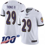 Wholesale Cheap Nike Ravens #29 Earl Thomas III White Men's Stitched NFL 100th Season Vapor Limited Jersey