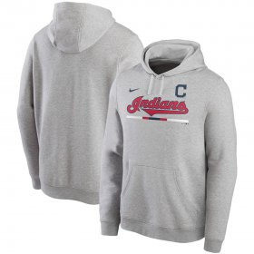Wholesale Cheap Cleveland Indians Nike Color Bar Club Pullover Hoodie Gray