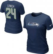 Wholesale Cheap Women's Nike Seattle Seahawks #24 Marshawn Lynch Name & Number T-Shirt Blue