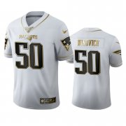 Wholesale Cheap New England Patriots #50 Chase Winovich Men's Nike White Golden Edition Vapor Limited NFL 100 Jersey