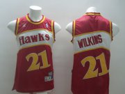 Wholesale Cheap Atlanta Hawks #21 Dominique Wilkins Red Swingman Throwback Jersey