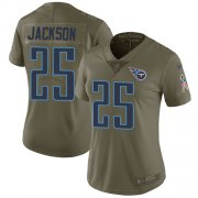 Wholesale Cheap Nike Titans #25 Adoree' Jackson Olive Women's Stitched NFL Limited 2017 Salute to Service Jersey