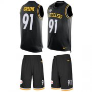 Wholesale Cheap Nike Steelers #91 Kevin Greene Black Team Color Men's Stitched NFL Limited Tank Top Suit Jersey