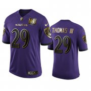 Wholesale Cheap Baltimore Ravens #29 Earl Thomas III Men's Nike Purple Team 25th Season Golden Limited NFL Jersey