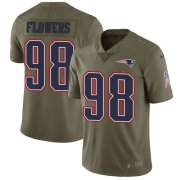 Wholesale Cheap Nike Patriots #98 Trey Flowers Olive Youth Stitched NFL Limited 2017 Salute to Service Jersey