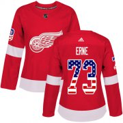 Wholesale Cheap Adidas Red Wings #73 Adam Erne Red Home Authentic USA Flag Women's Stitched NHL Jersey