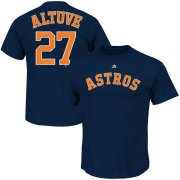 Wholesale Cheap Houston Astros #27 Jose Altuve Majestic Official Name and Number T-Shirt Navy